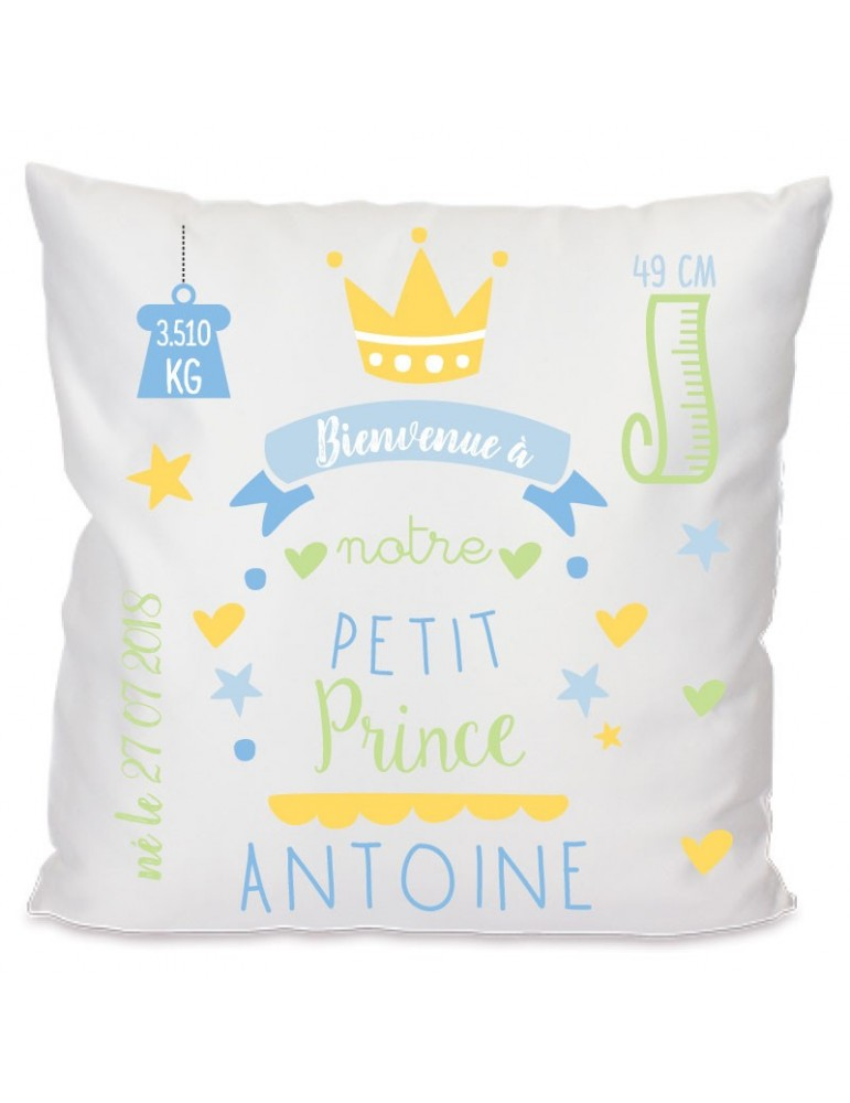 Coussin prince naissance