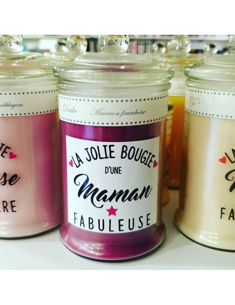 Bougie Maman fabuleuse framboise-macaron
