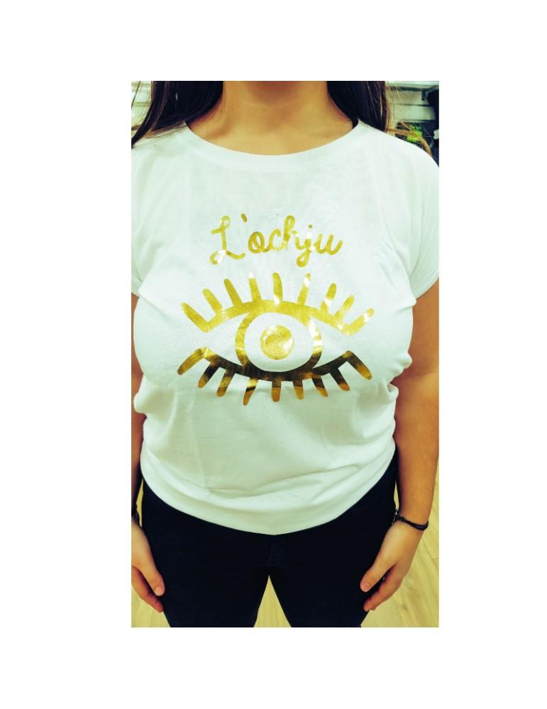 Tee-shirt blanc-or l'ochju