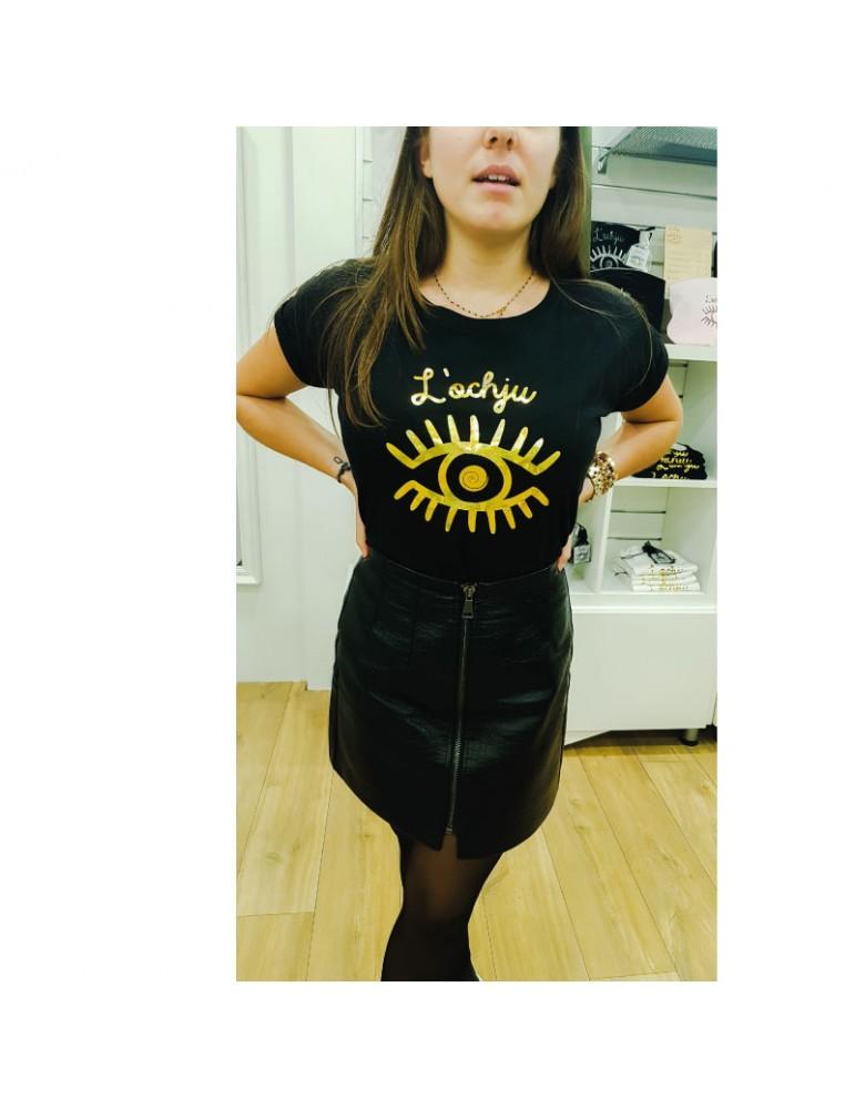 Tee-shirt noir-or paillette l'ochju